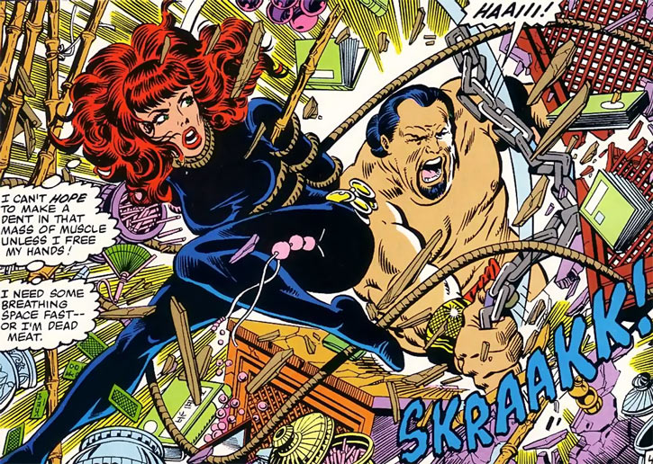 Kono the sumo smashes a desk as he fights a bound Black Widow (Marvel Comics)