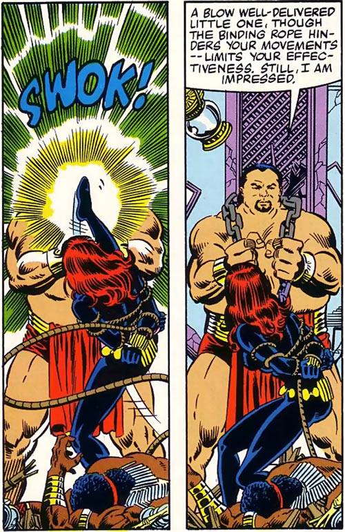 Kono the sumo (Marvel Comics) ignores a kick from the Black Widow