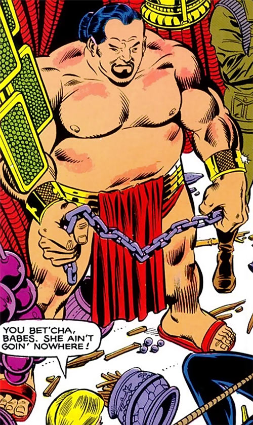 Kono the Sumo (Marvel Comics) with a loincloth and a chain