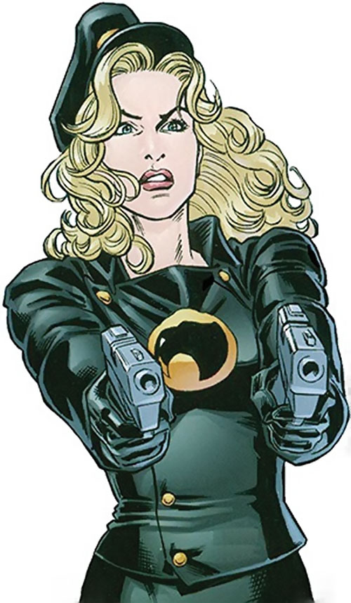 Lady Blackhawk of the Birds of Prey (DC Comics) pointing her .45s