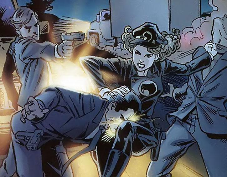 Lady Blackhawk (Zinda Blake) fights mobsters