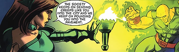 Lady Liberty using her torch to blast a super-villain