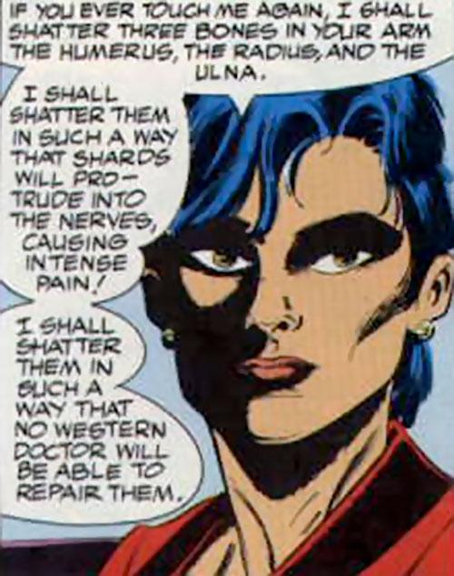 Lady Shiva (The Question) threatening