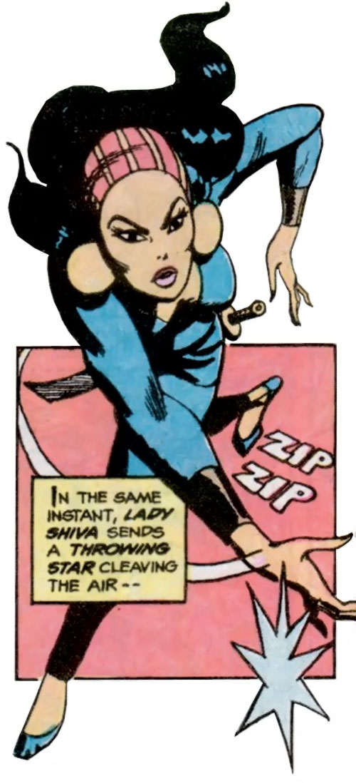Lady Shiva (Richard Dragon early version) (DC Comics) throws a shuriken