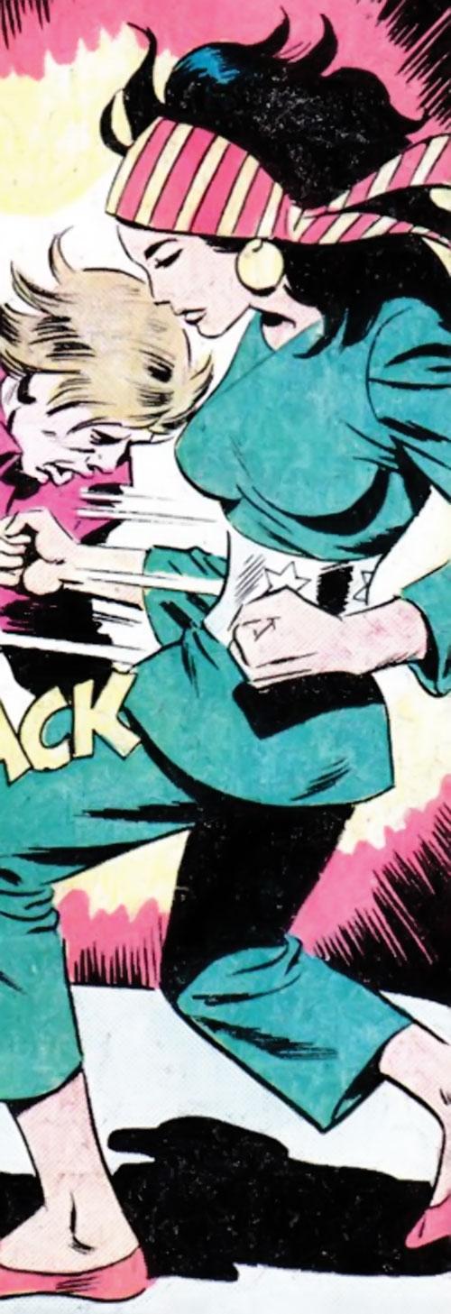 Lady Shiva (Richard Dragon early version) (DC Comics) punches a guy