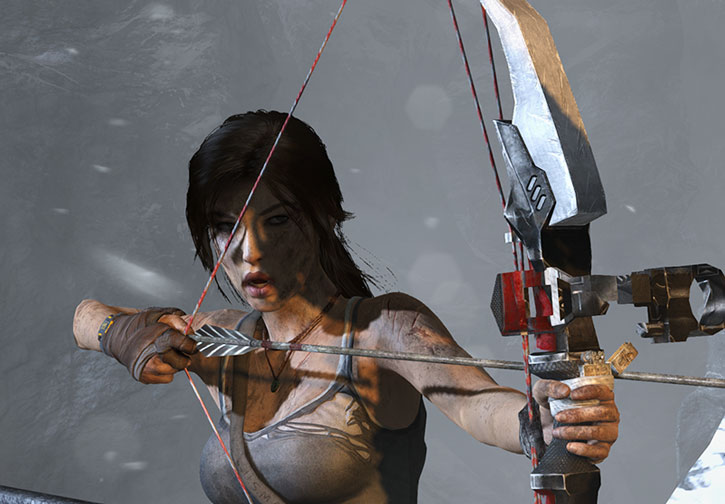 Lara Croft with her fully-kitted bow