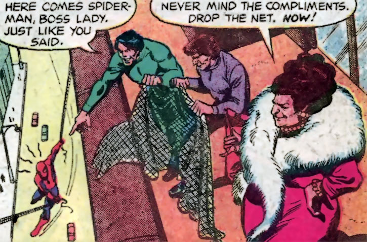 Larcenous Lil (Hostess adverts in comic books) and her thugs about to attacks Spider-Man