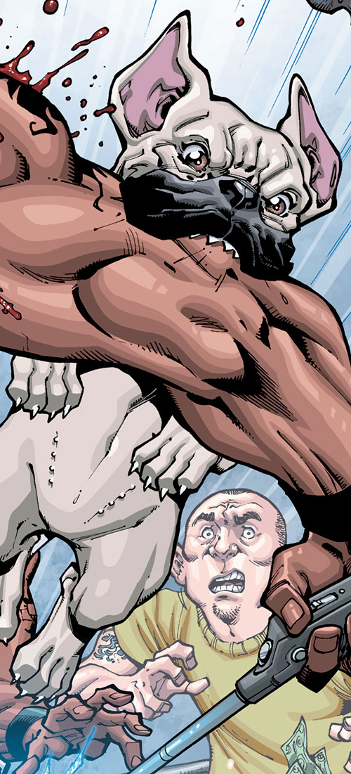 Le Brusier of the Guardians of the Globe (Invincible Comics) biting some guy's arm