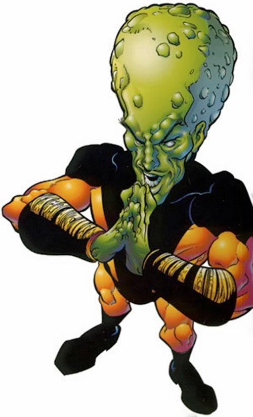 The Leader (Hulk enemy) (Marvel Comics) high angle shot with orange and black costume