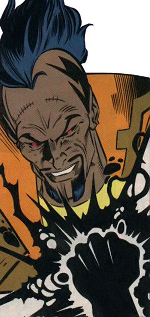 The Left Hand (New Warriors enemy) (Marvel Comics) with his glowing fist
