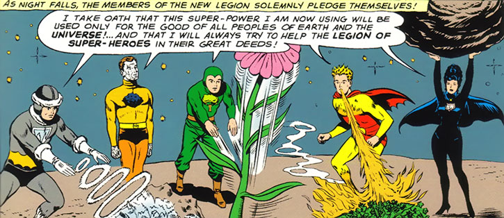 The Legion of Substitute Heroes take their oath while demonstrating their power