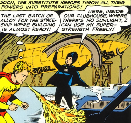 Legion of Substitute Heroes (Subs) (DC Comics) - Fire Lad and Night Girl working