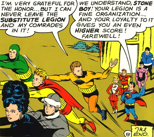 Legion of Substitute Heroes (Subs) (DC Comics) - Stone Boy and the rest flying away