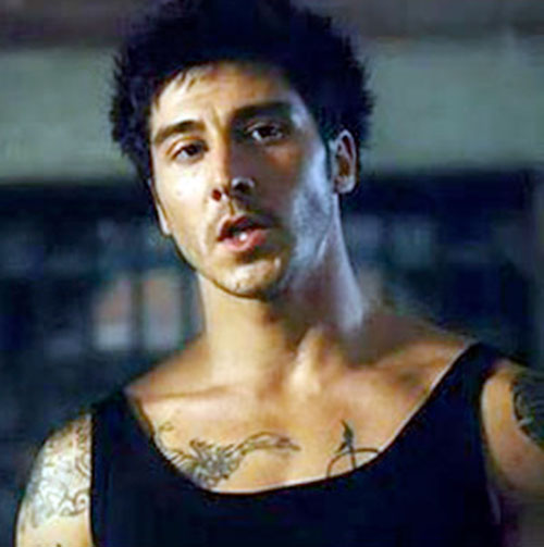 Leito (David Belle in District B13 / Banlieue 13) in a black tank top
