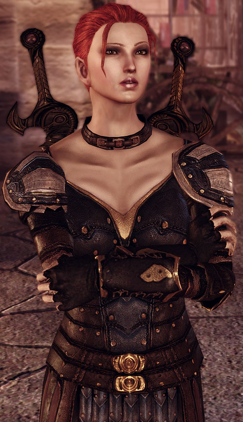 Leliana (Dragon Age Origins) in Leliana's Song - paired shortswords, leather armor