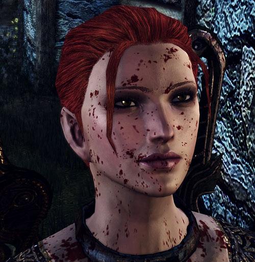 Leliana (Dragon Age Origins) in Leliana's Song - blood-splattered face