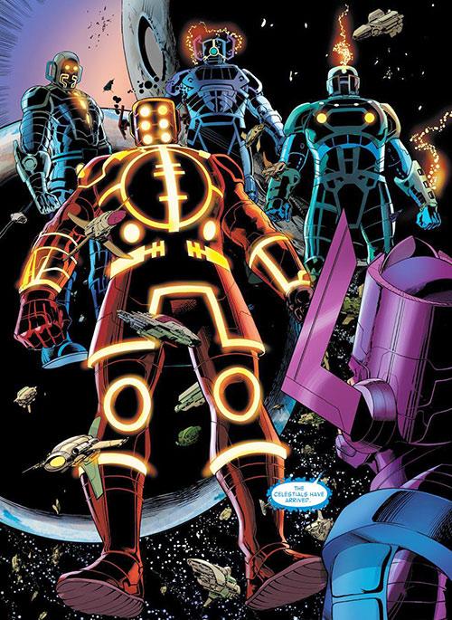 Celestials and Galactus (Marvel Comics)