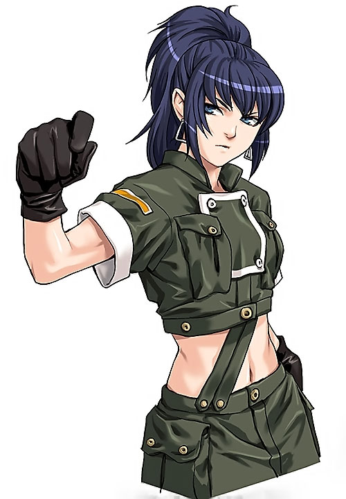 Leona Heidern (King of Fighters) with hand raised
