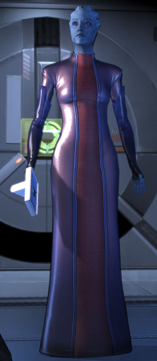 Liara T'Soni (Mass Effect 2) in a purple and red Asari dress