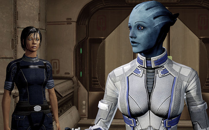 Liara discussing with Commander Shepard