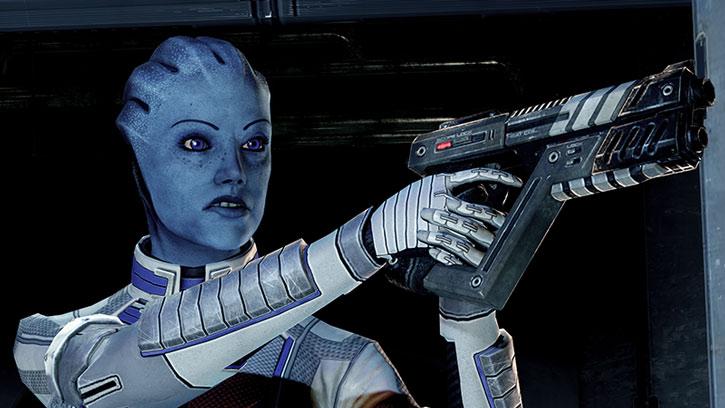 A scowling Liara aims a pistol