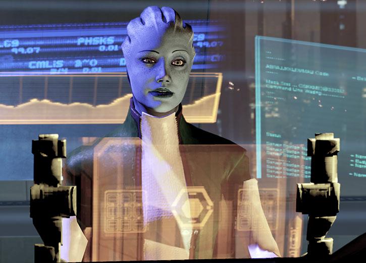 Liara working as an information broker