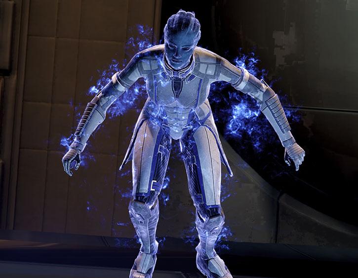 Liara surrounded by biotic dark energy