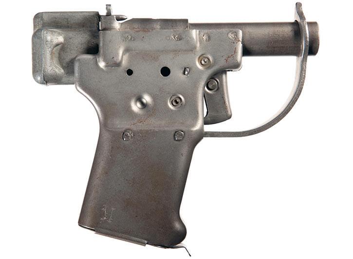 Liberator handgun, made from stamped sheet metal