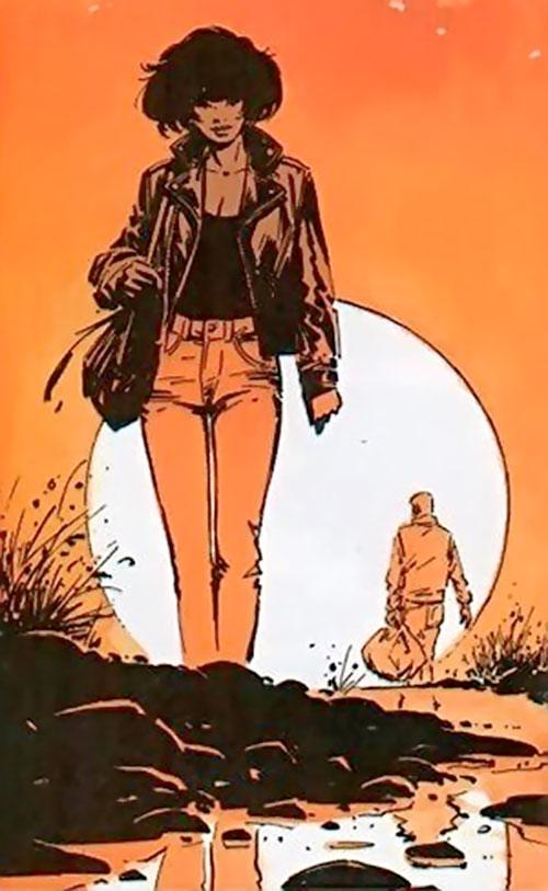 Lieutenant Jones (XIII comics) walking in the sunset