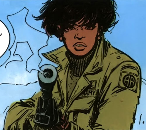 Lieutenant Jones (XIII comics) pointing a rifle in an Army Aviation uniform
