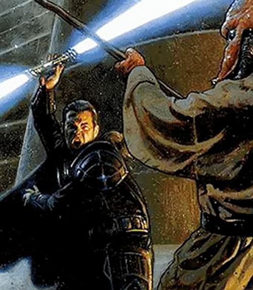 Comic book art of a Star Wars dual lightsabre
