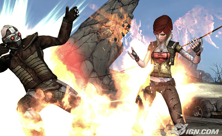Lilith torching a bandit