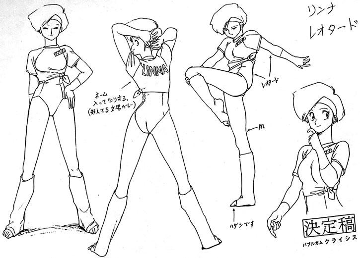 Linna's character design model sheet
