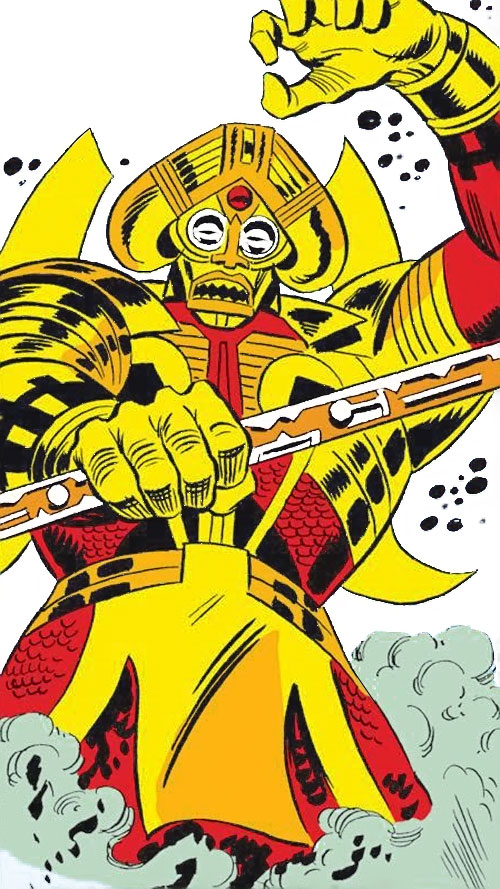 Lion God (Avengers enemy) (Marvel Comics) in mist with their staff