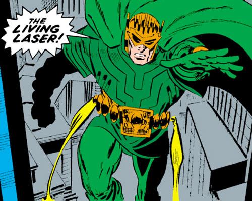 Living Laser (Early) (Marvel Comics) (Avengers enemy) green costume and jet belt