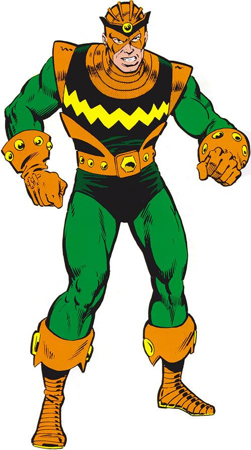 Living Laser (Early) (Marvel Comics) (Avengers enemy) green and orange costume