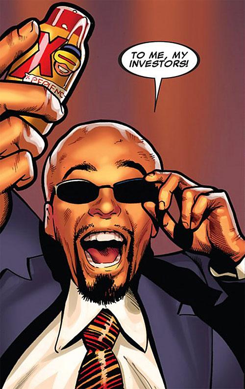 Lobe (X-Men enemy) (Marvel Comics) with sunglasses brandishing his product
