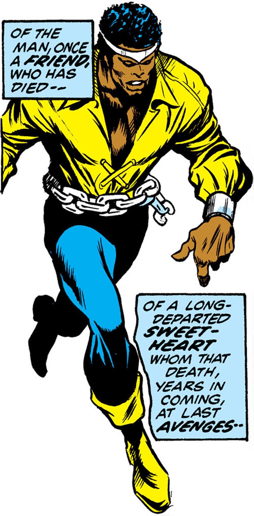 Luke Cage the 1970s hero for hire (Marvel Comics) walking