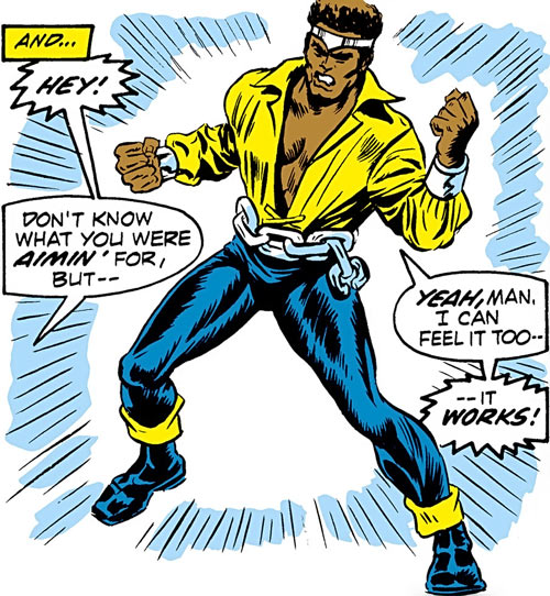 Luke Cage the 1970s hero for hire (Marvel Comics)wears his costume for the first time