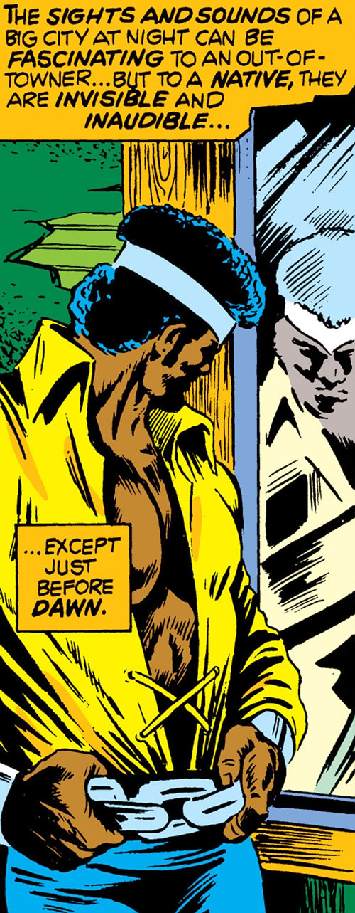 Luke Cage the 1970s hero for hire (Marvel Comics) and a mirror