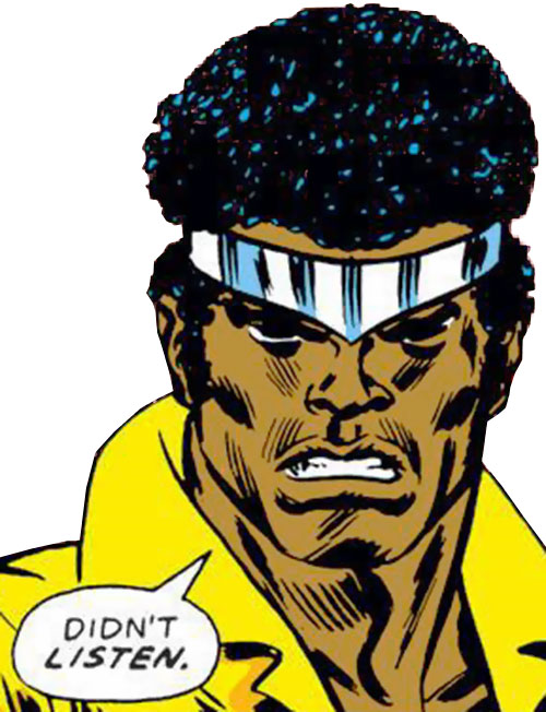 Luke Cage the 1970s hero for hire (Marvel Comics) face closeup