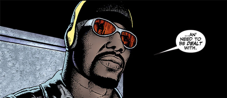 Luke Cage with his Marvel MAX look (red glasses and woollen hat)