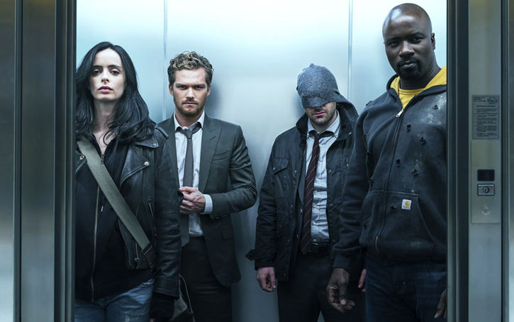 Luke Cage (Netflix version) character profile - Defenders in elevator