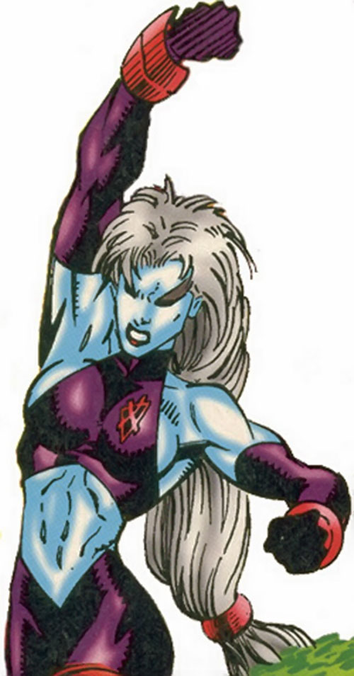 La Lunatica (X-Men 2099) (Marvel Comics) throwing a punch
