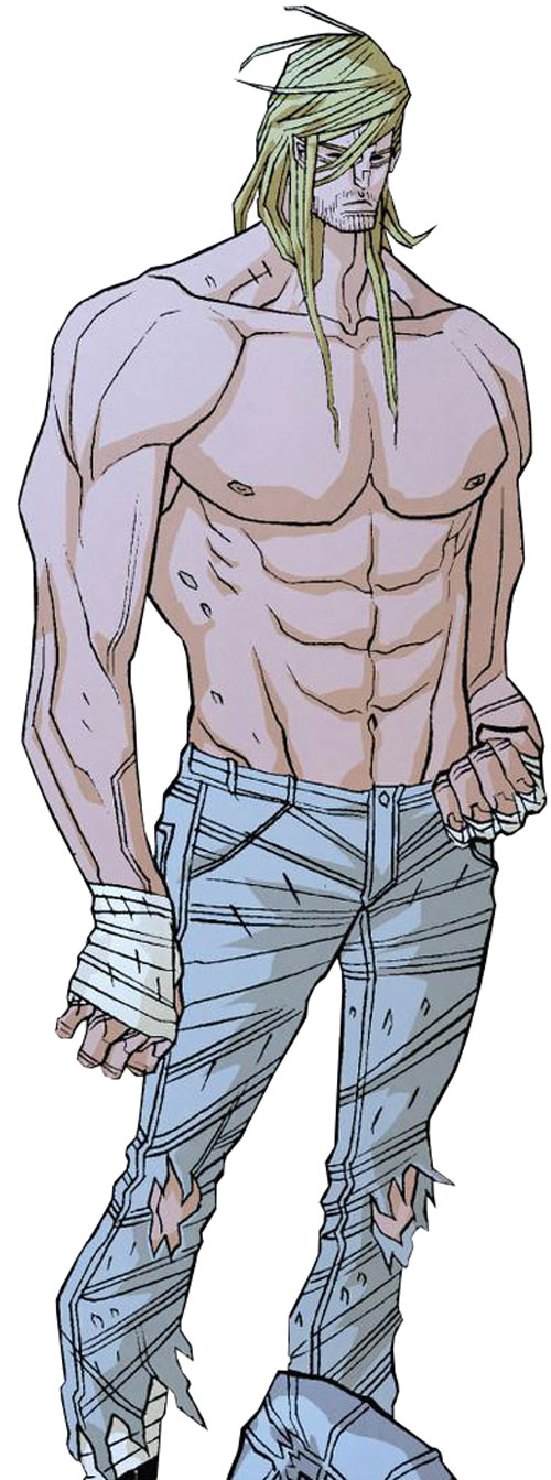 Luther Strode (Image Comics) bare-chested with handwraps