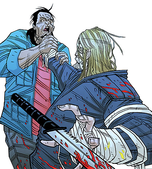 Luther Strode (Image Comics) throwing away a bloody knife