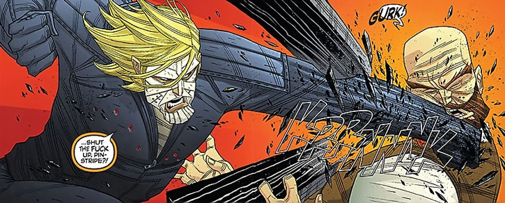 Luther Strode punches a man through a 2x4