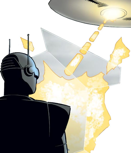 M11 the human robot (Agents of Atlas character) (Marvel Comics) blocks blaster fire from a UFO with a force shield