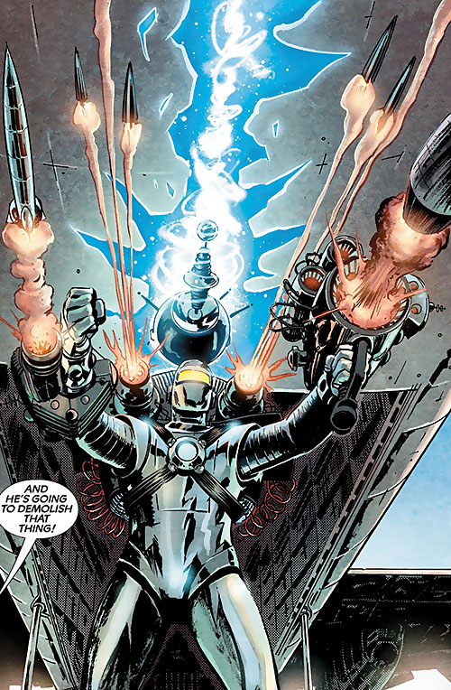 M11 the human robot (Agents of Atlas character) (Marvel Comics) with heavy steampunk weaponry