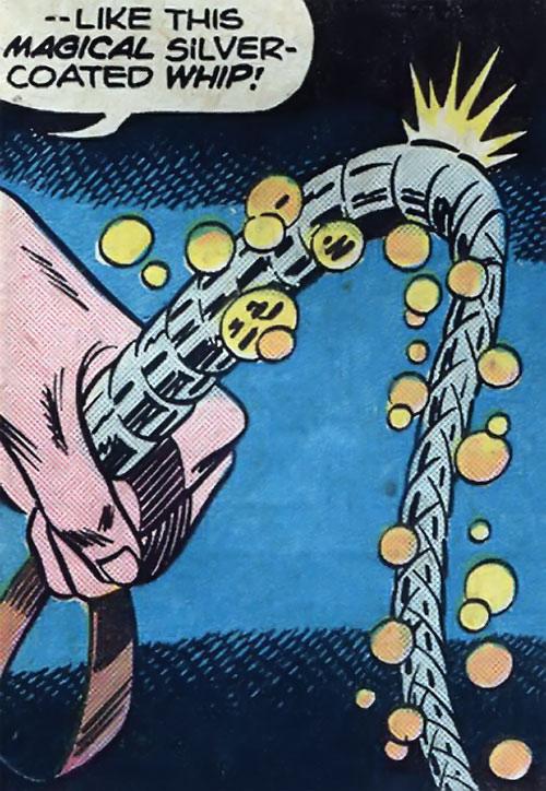 Ma Mayhem (Werewolf by Night enemy) (Marvel Comics) silver whip closeup